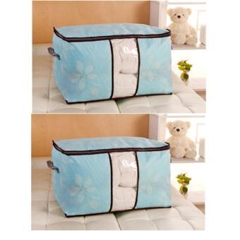 Combo 2 Túi vải hoa văn đa năng size lớn ( xanh biển )