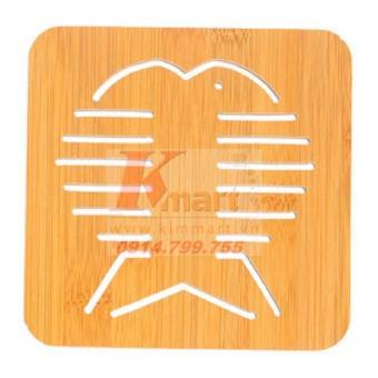 COMBO 5 Tấm đế tre lót cách nhiệt cho xoong, nồi, bát đĩa hoa văn cá (cỡ to)
