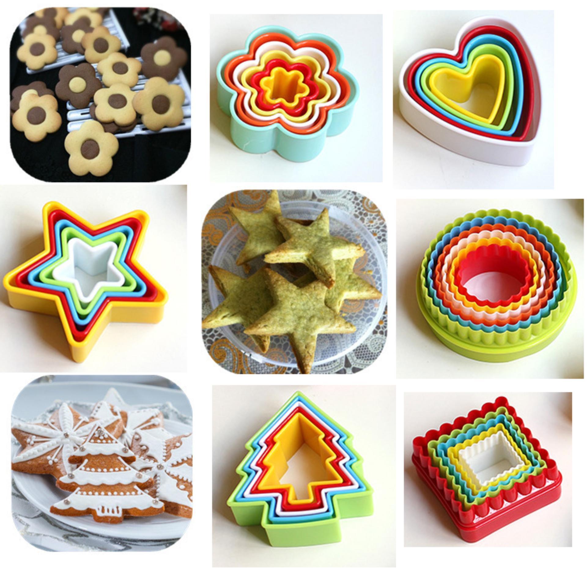 Combo 6 bộ khuôn nhựa làm bánh bông hoa + tim + thông + hình người + tròn + sao