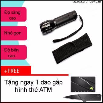 Combo đèn pin x2000 siêu sáng nhỏ gọn + free dao ATM bỏ ví
