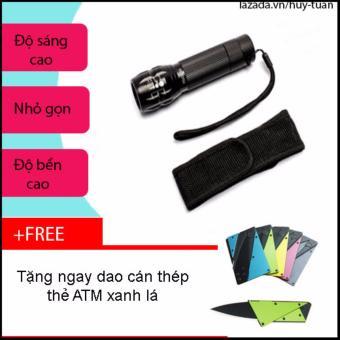Combo đèn pin x2000 siêu sáng nhỏ gọn + free dao cán thép ATM bỏ ví( Xanh lá)