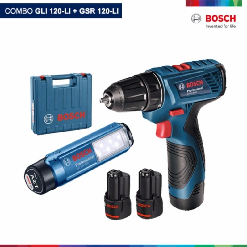 combo Máy khoan pin Bosch GSR 120-LI + đèn pin Bosch GLI 120-LI