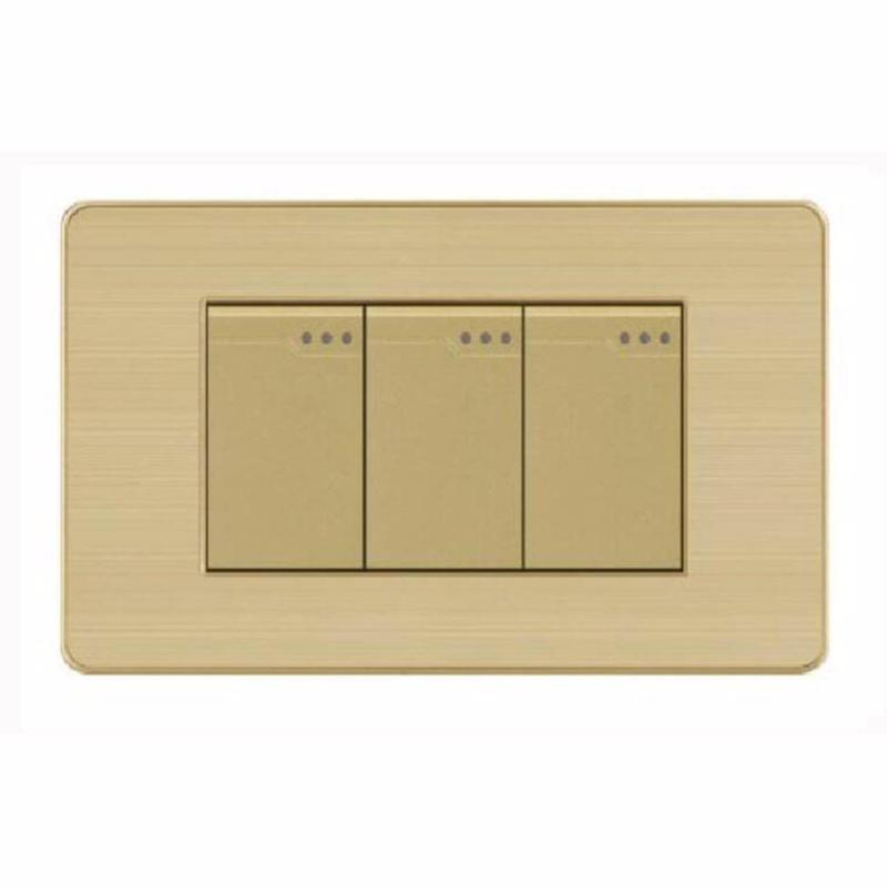 Bảng giá Công tắc ba 2 chiều mặt hình chữ nhật cao cấp KLASS 118KV5-009 (gold - vân hoa)