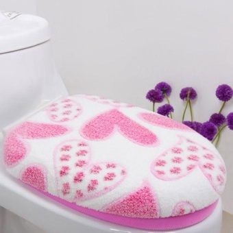 Hình thu nhỏ Coral Fleece 2 Piece Set Potty Toilet Cover O Ring Toilet Mat Pink - intl