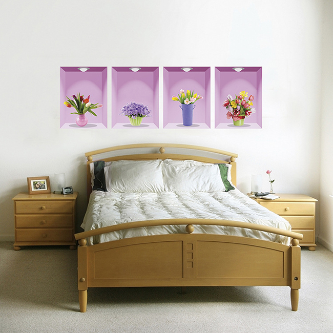 Hình ảnh Decal dán tường 4 chậu hoa 3D