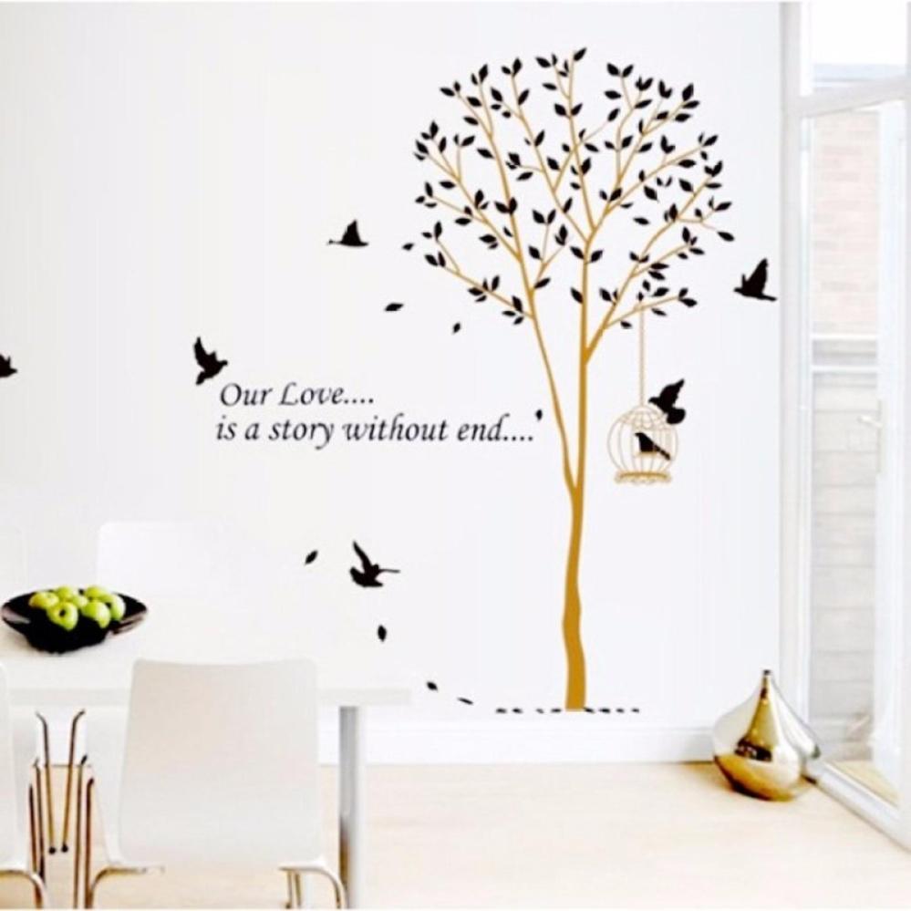 Decal dán tường Cây và Chim 01