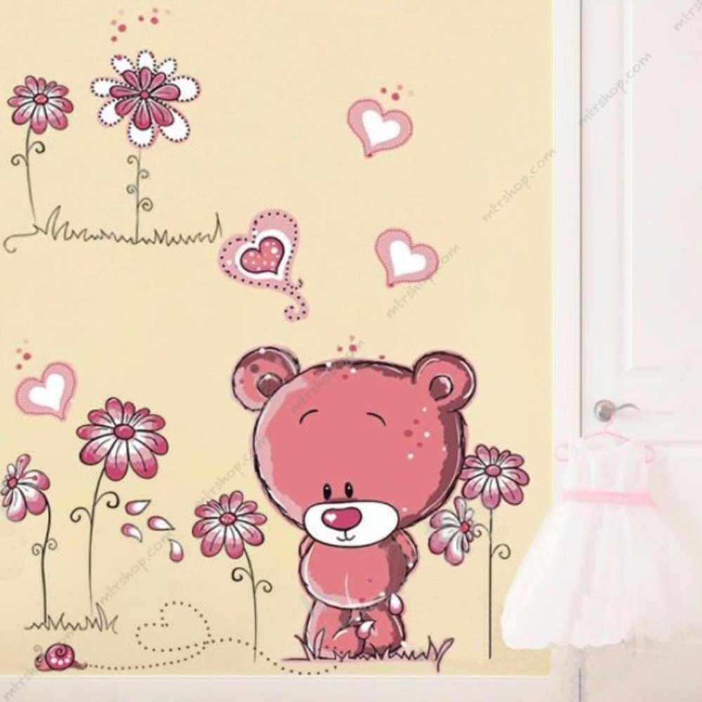 decal dán tường gấu hồng lớn