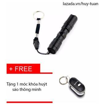 Đèm pin siêu sáng mini 3w + free móc khóa huýt sáo thông minh (Đen)