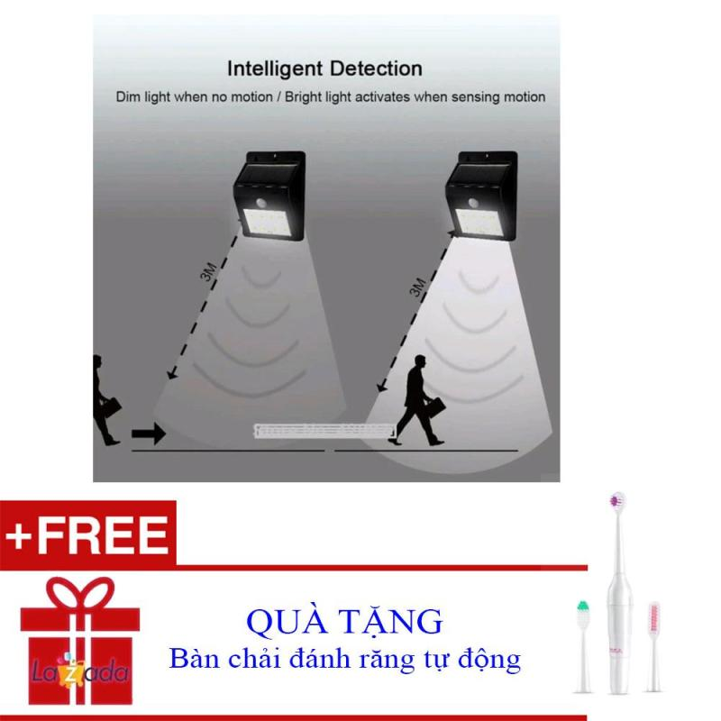 Bảng giá Đèn chống trộm năng lượng mặt trời cảm ứng hồng ngoại tự động bật tắt thông minh + Tặng bàn chải đánh răng tự động 8189