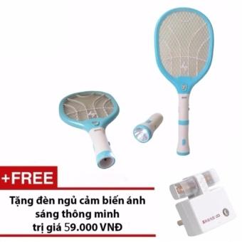 Đèn pin kiêm vợt bắt muỗi KamiSafe KM-3820 + Tặng đèn ngủ cảm biếnánh sáng