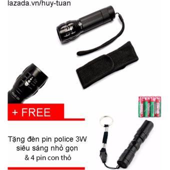 Đèn pin siêu sáng x2000 + free đèn pin 3w nhỏ gọn + 4 pin con thỏ
