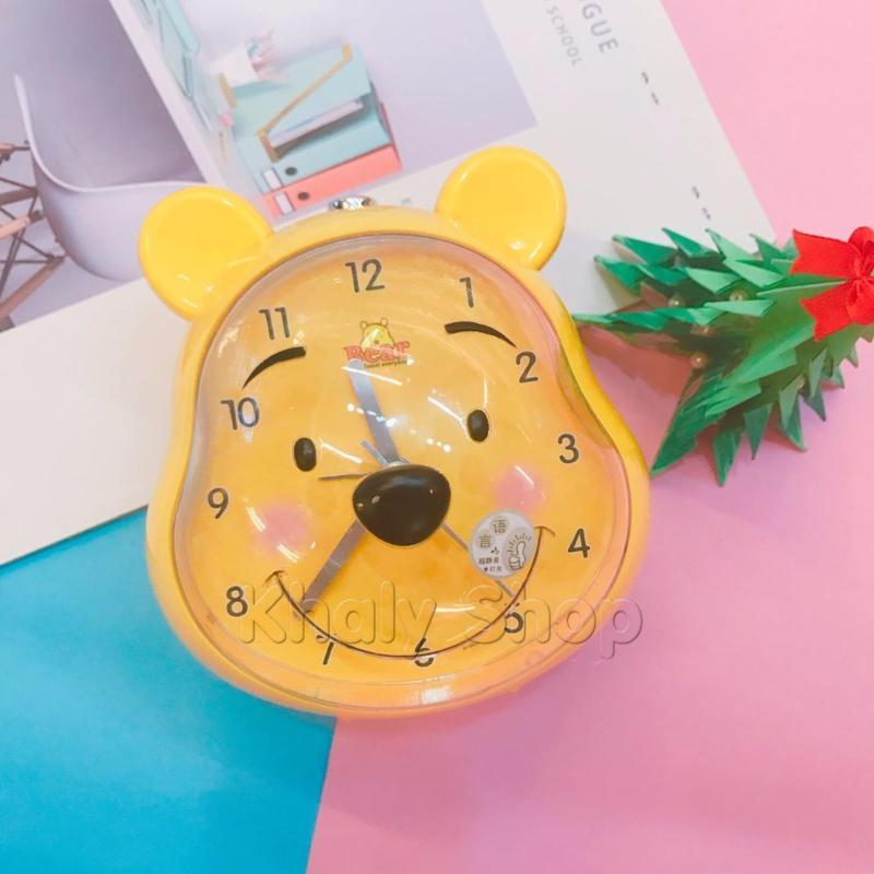 Nơi bán Đồng hồ báo thức kiểu dáng chú gấu Pooh (có đèn led) màu vàng dành cho bạn gái - DHBTPOOH - (13x12x11.5cm)
