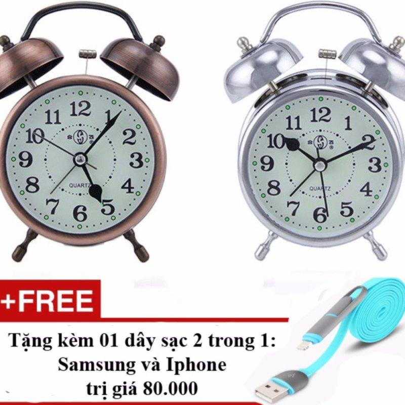 Nơi bán Đồng hồ báo thức kim loại mạ đồng có dạ quang ban đêm + Tặng cáp sạc điện thoại 2 trong 1 cho Iphone và Samsung (Đồng đỏ)