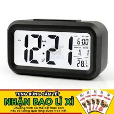 Đồng hồ báo thức kỹ thuật số với đèn LED nền cảm biến đa chức năng: thời gian, lịch, báo thức, nhiệt độ - LC01 (Đen) - TẶNG BAO LÌ XÌ