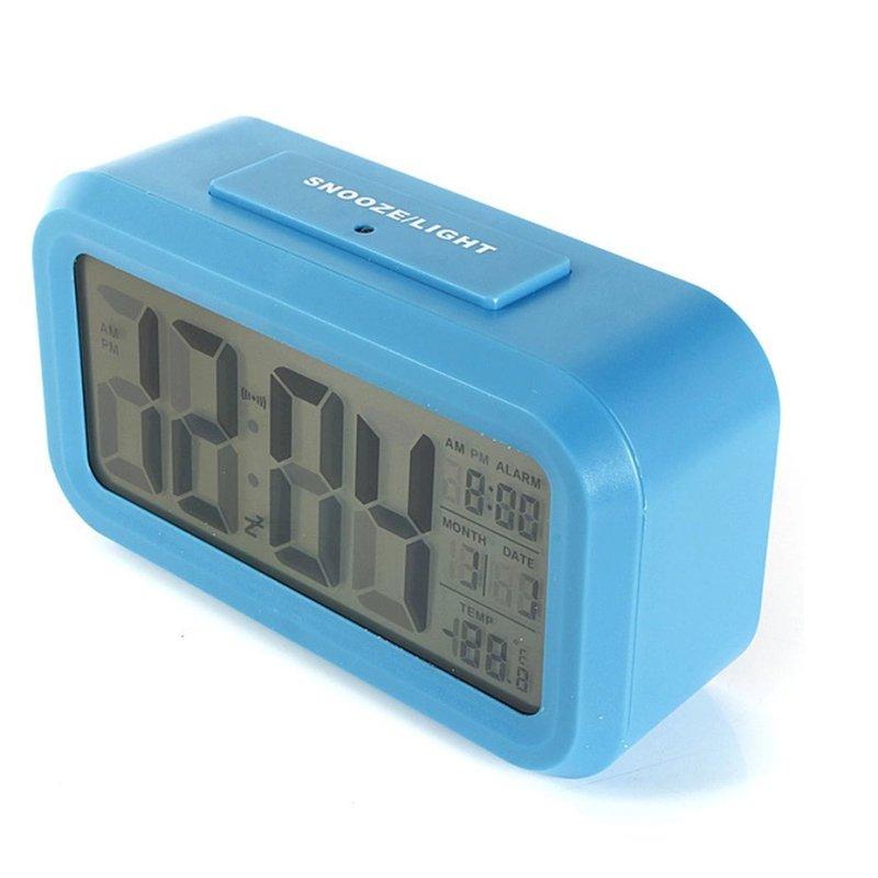 Đồng hồ báo thức kỹ thuật số với đèn LED nền cảm biến đa chức năng LC01 (Xanh) bán chạy