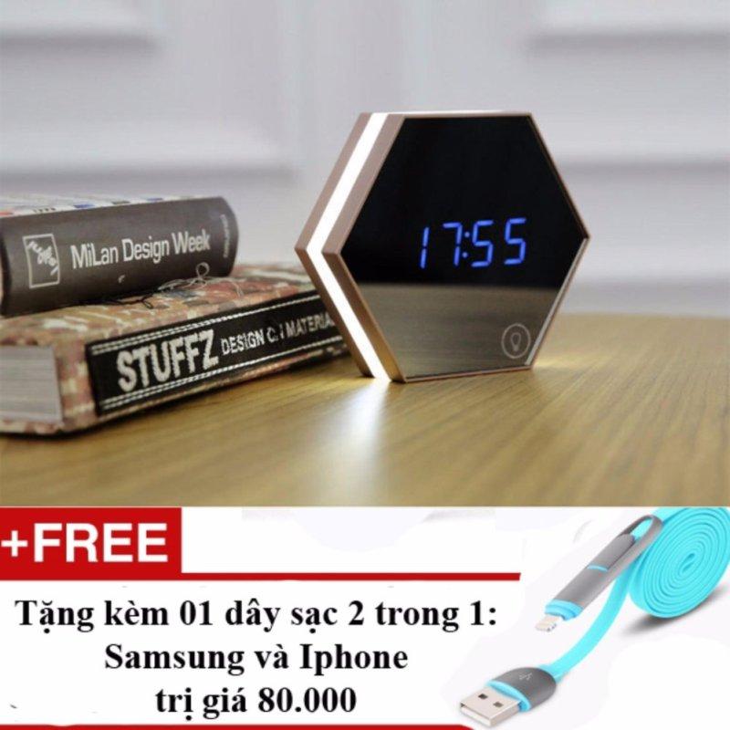 Nơi bán Đồng hồ báo thức4 trong 1 dạng gương soi Model 2017 + Tặng dây sạc điện thoại 2 trong 1
