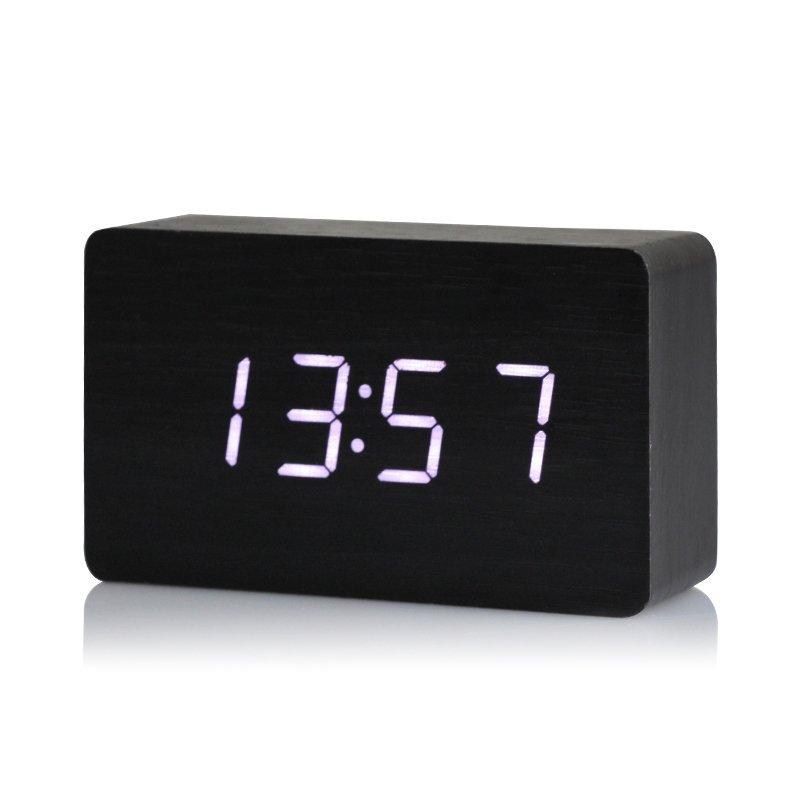 Nơi bán Đồng Hồ Gỗ Báo Thức Hình Chữ Nhật 1295 Wood LED Digital Desk Alarm (Trắng)