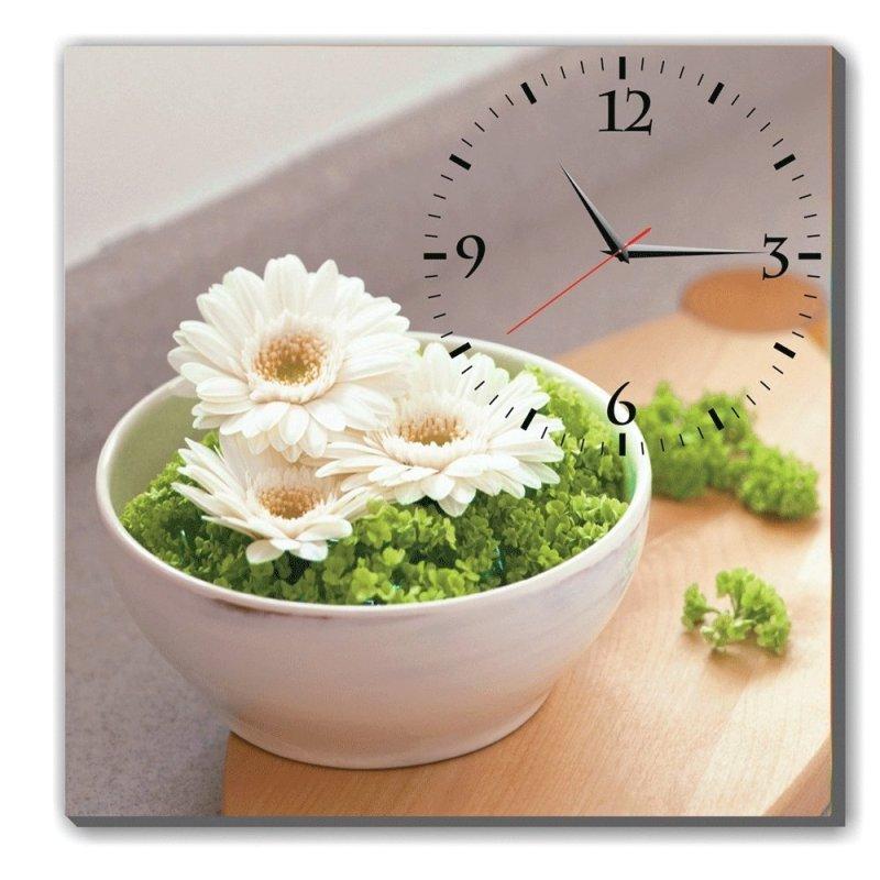 Nơi bán Đồng hồ tranh ba đóa cúc Trắng Dyvina 1T3030-22 (Trắng)