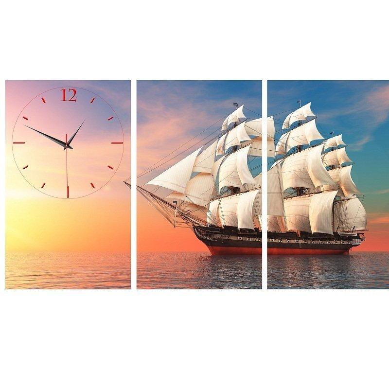 Nơi bán Đồng hồ tranh Con thuyền bình minh Vicdecor DHT0209 (50cm x 30cm x 0,9cm x 3 tấm)