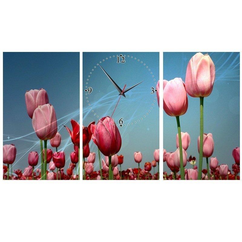 Nơi bán Đồng hồ tranh Hoa tulip hồng Vicdecor DHT0210