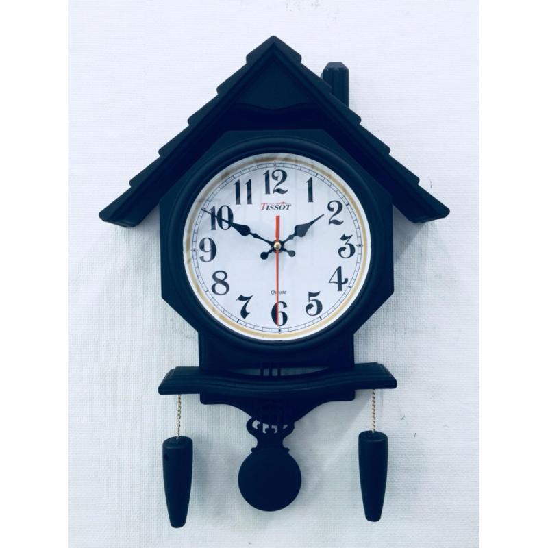 Nơi bán Đồng hồ treo tường hình ngôi nhà có quả lắc Vati S106 ( đen )