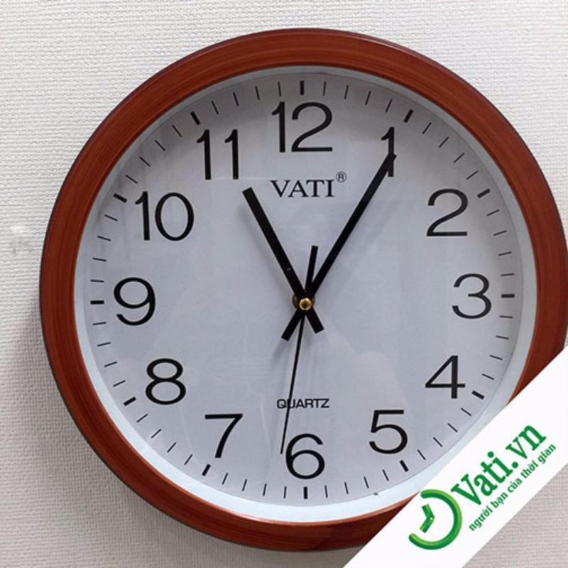 Nơi bán Đồng hồ treo tường hình tròn Vati F65 (nâu)-Kim giật luôn chạy đúng giờ