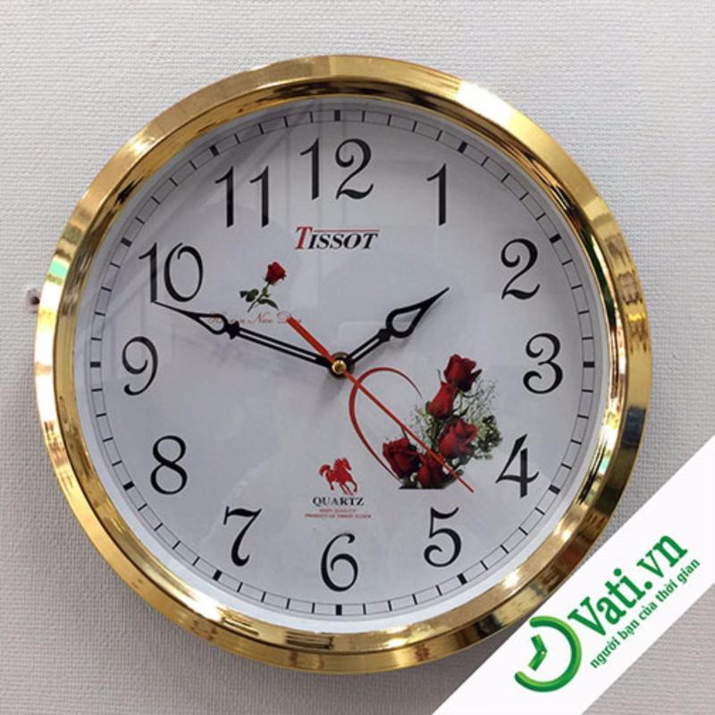 Nơi bán Đồng hồ treo tường hình tròn vati S6 (Gold)-Kim giật luôn chạy đúng giờ
