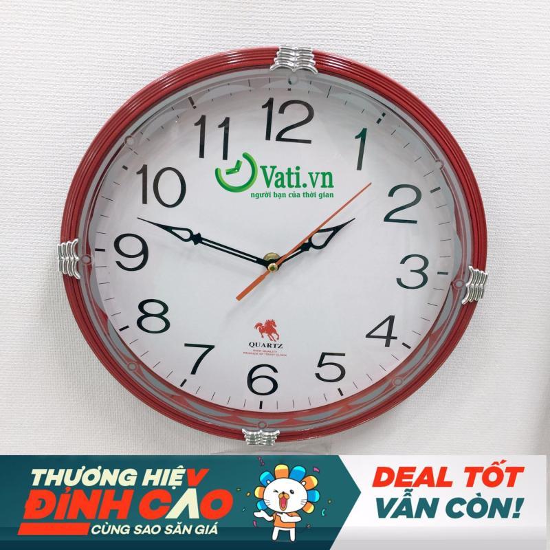 Nơi bán Đồng hồ treo tường hình tròn Vati S65 (đỏ)-Kim nhật luôn chạy đúng giờ