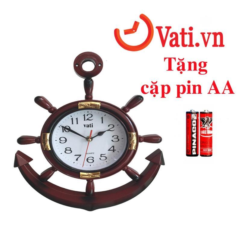 Nơi bán Đồng hồ treo tường mỏ neo vati F02 ( nâu đỏ) - tặng kèm 1 cặp pin AA