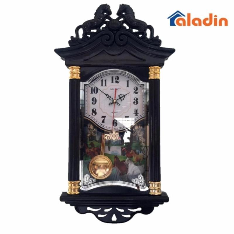 Nơi bán Đồng hồ treo tường quả lắc hình ngôi nhà Vati f19 (nâu) – Thích hợp cho không gian phòng khách nhà bạn