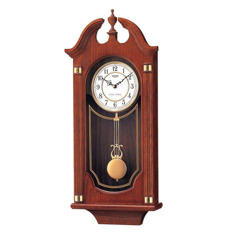 Nơi bán Đồng hồ treo tường Rhythm CMJ303ER06 Wooden Wall Clocks Chime (Nâu)