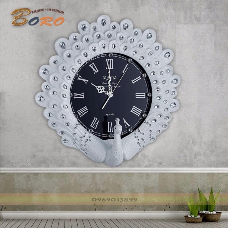 Nơi bán Đồng hồ treo tường trang trí chim công màu trắng BRDH01W