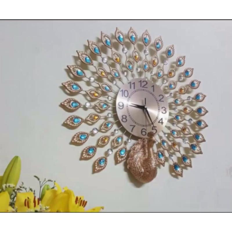 Nơi bán Đồng hồ treo tường trang trí con công 3D pha lê - JT1765