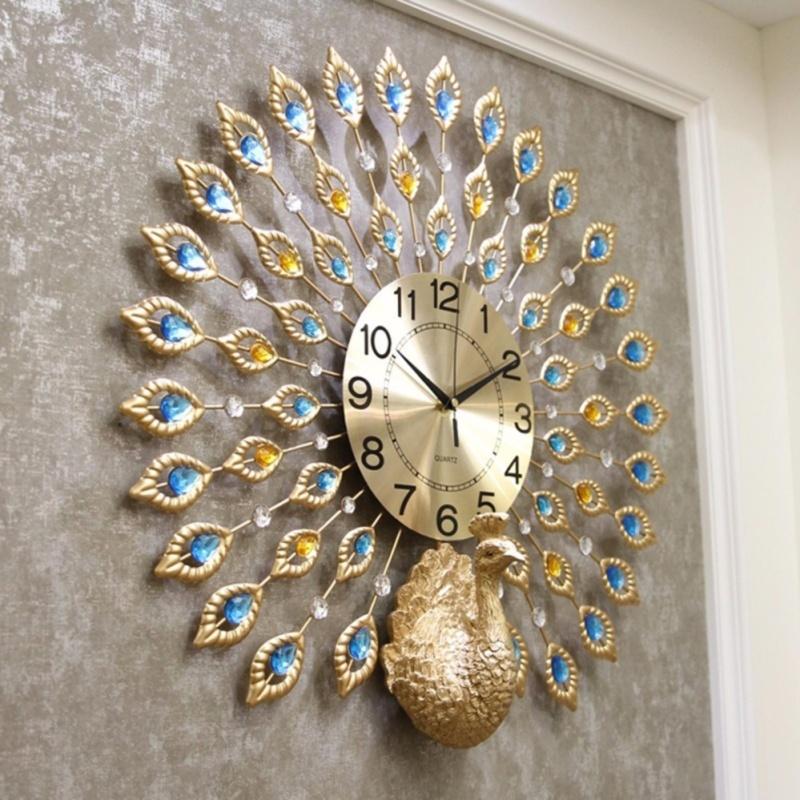 Nơi bán Đồng hồ treo tường trang trí đuôi công vàng kim (JT1765)