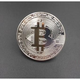 Đồng xu bitcoin xi màu bạc 24k - P&H Case