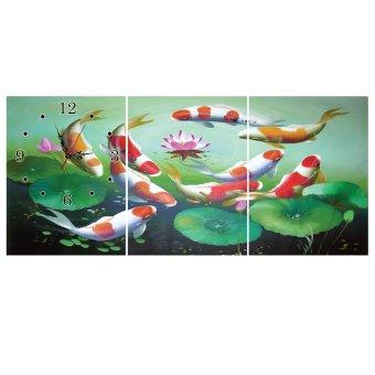 Đồnghồtranh Cửu ngư quần hội VicdecorDHT0116