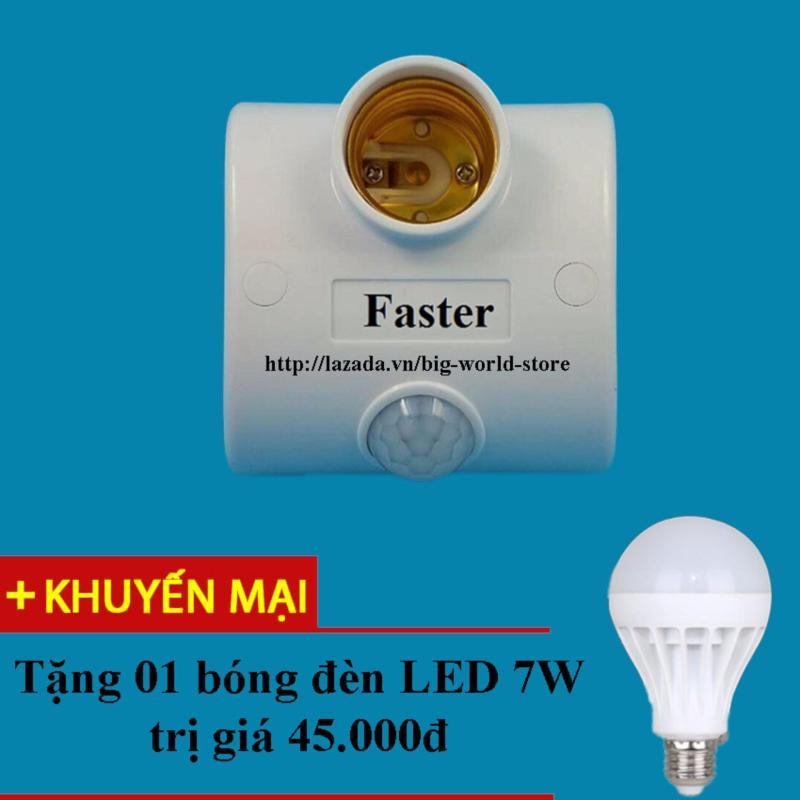 Bảng giá Mua Đui đèn cảm ứng hồng ngoại Faster (Trắng) + Tặng bóng đèn LED 7W Siêu sáng