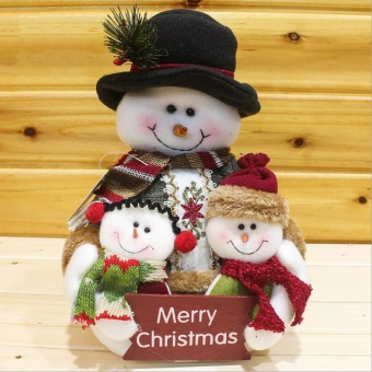 Family of Three Christmas Gift Snowman - intl