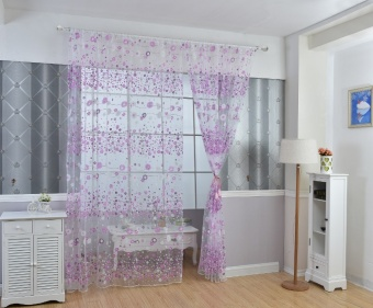 Fashion Flower Chiffon Curtains for Living Room the Bedroom Sheer Curtains Tulle Window Curtains Fabric Drapes - Purple - intl