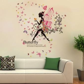 Flower Faerie Wings Girl Wall Stickers - intl