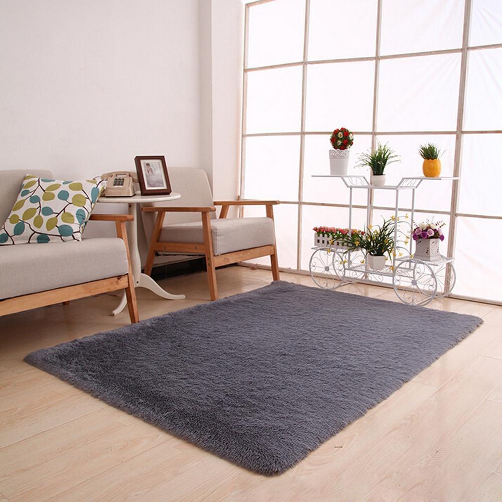 ... Fluffy Rugs Anti-Skid Shaggy Area Rug Dining Home Bedroom CarpetFloor Mat Gray - intl ...