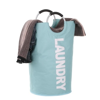 Foldable Laundry Bag Washing Dirty Clothes Basket Bins Home Organizer Storage Durable Laundry Hamper with Alloy Handle - intl