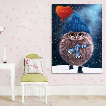 FRD Diy 5D Diamond Owl Wall Stickers Painting Blue - intl