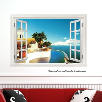 GETEK 3D Window Seascape Removable Wall Stickers HomeDecor(Multicolor) - intl
