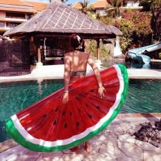 Half of The Watermelon Inflatable Floating Row Water Mount PVC Float Float Bed Inflatable Pools - intl