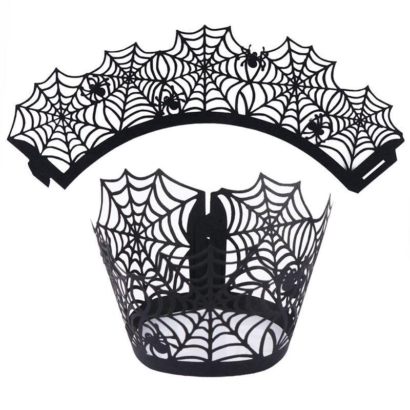 Halloween Castle Designed Lace Cake Cup Paper Wrappers Baking Cups 12 Pcs - intl
