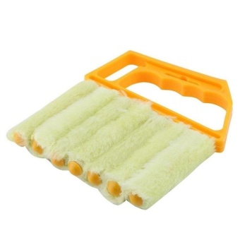 HappyLife Goongvs Microfibre Venetian Blinds Cleaning Brush Airconditionerwindow Duster Dirt Cleaner,Orange - intl