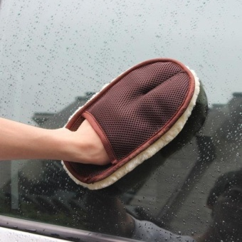 HappyLife Lambswool Car Wash Washing Clean Mitt Glove (Black/Beige) - intl