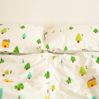 HKS Ins Wind Fresh Cute Small Pine House Plants White Cotton Bed Sheet 200 CM x 230 CM