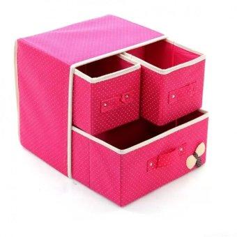 Hộp vải đựng đồ lót tất 2 tầng 3 ngăn kéo (hồng)